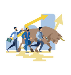 Businessmen and bull run competition vector
