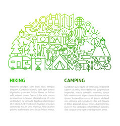 Camping hiking line template vector