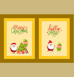 cards with holiday spirit and cartoon character vector image