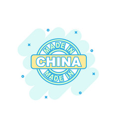 cartoon colored made in china icon in comic style vector image