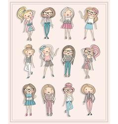 Cartoon girls fashion children set cute girls vector