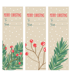 christmas labels collection with tree branches vector image