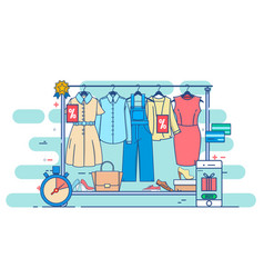 clothes shopping concept thin line vector image
