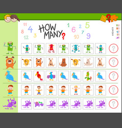 Counting game with cartoon characters vector
