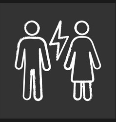 Couple quarrel chalk icon vector