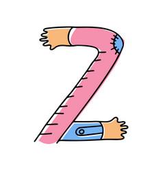 Crazy hands alphabet hand drawn letter z vector