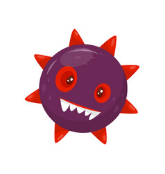 cute aggressive microbe with teeth humanized vector image