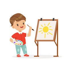 Cute little boy painting sun on an easel kids vector