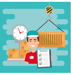 Delivery worker with scale balance character vector