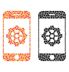 Dotted smartphone options gear mosaic icons vector