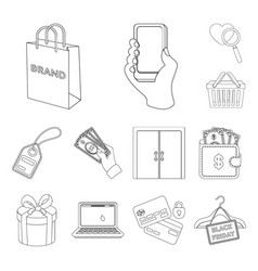 e-commerce purchase and sale outline icons in set vector image