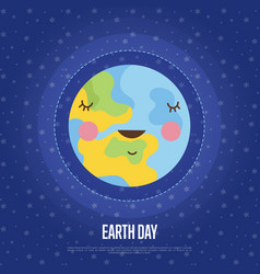 Earth day cartoon web banner vector