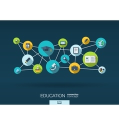 Education network background with integrate flat vector image