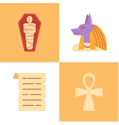 egyptian religious symbols icon set in flat style vector image
