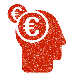 euro businessman intellect icon grunge watermark vector image