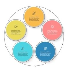 Five steps infographics with arrows design vector