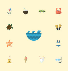 Flat icons swimming sorbet sea and other vector