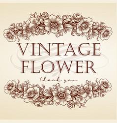 Flower leaves vintage frame drawing logo vector
