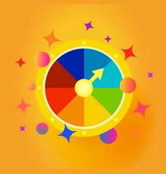 Fortune wheel emblem confetti explosion vector