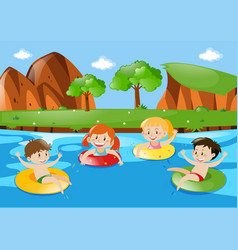 four children swimming in the stream vector image