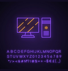Gaming computer and monitor neon light icon vector