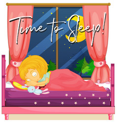 Girl in bed with phrase time to sleep vector
