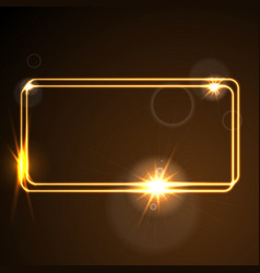 Glow orange neon frame shiny template vector