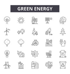 green energy line icons signs set vector image