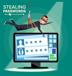 Hacker stealing password thief character vector