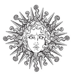 Hand drawn antique style sun with face apollo vector