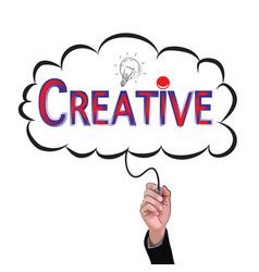 hand isolate pencil idea write red creative vector image