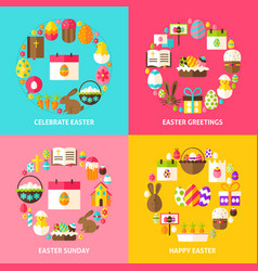 happy easter concepts set vector image