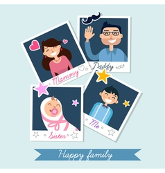 Happy Family set of Polaroid Photo Frames vector
