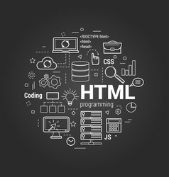 html coding linear concept on black vector image