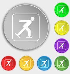 Ice skating icon sign Symbol on eight flat buttons vector