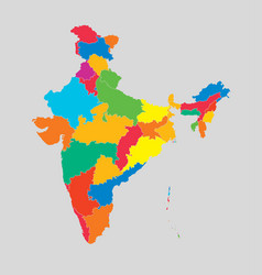 India country map divided on state template vector