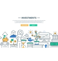 Investments line flat design banner with female vector