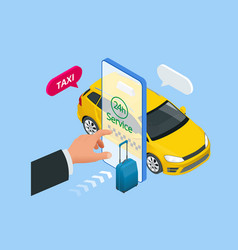 isometric ordering online taxi and call a taxi vector image