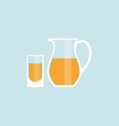 juice pitcher with glass icons vector image
