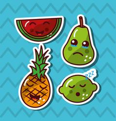 kawaii smiling fruits adorable food cartoon vector image