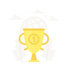large gold trophy business vector image