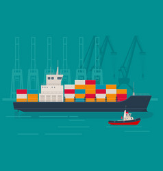 loaded container ship and tugboat at the port vector image
