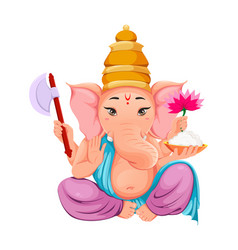 lord ganesha idol in traditional indian clothes vector image