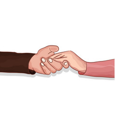 Lovers making clasping hands to share comfort vector