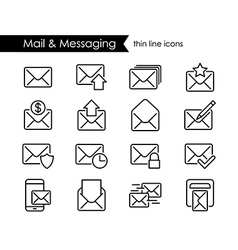 Mail thin line icons messaging and newsletter vector