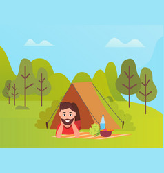 male lying in tent mountain and trees vector image