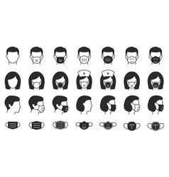 man and woman in medical mask icons black vector image