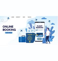 man buying ticket on flight via mobile app vector image