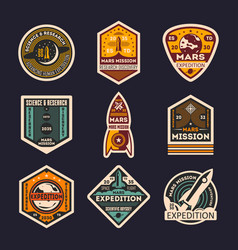 Mars mission isolated label set vector