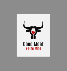 meat and wine logo wine with bull head on white vector image